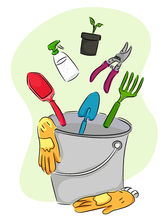 Illustration of Gardening Tools like a Shovel, Gloves, Rake, Cutting Shears, Spray Bottle and Seedling Dropping to a Pail