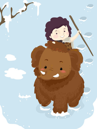 Illustration Featuring a Spear Wielding Little Boy in Caveman Clothing Riding a Woolly Mammoth 스톡 콘텐츠