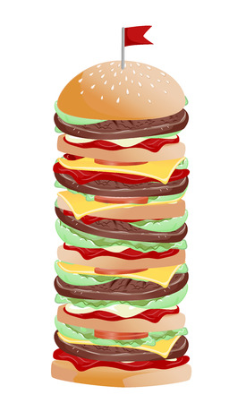 Illustration of a Very Tall Burger with Several Layers of Buns, Patties, Tomatoes and Lettuce