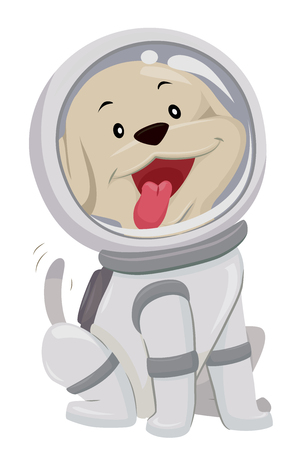 Cute Animal Illustration Featuring a Playful Dog in a Spacesuit Wagging its Tail Happily