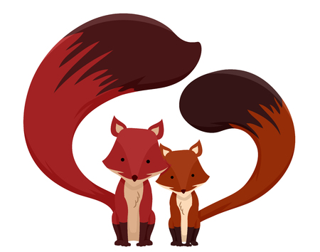 Cute Animal Illustration Featuring a Pair of Fluffy Foxes Huddled Together