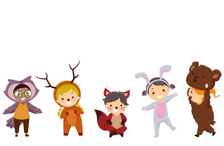 Kleurrijke illustratie met Stickman Kids gekleed als Woodland Animals