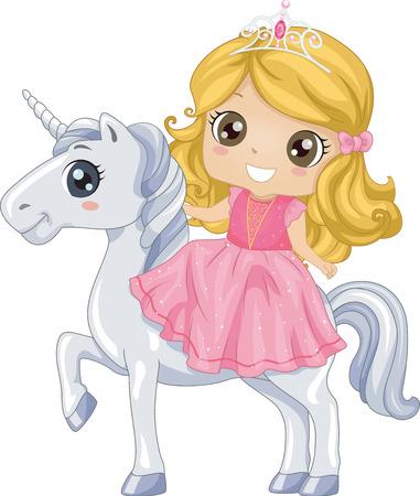 Illustrazione variopinta di un piccolo sveglio in un abito rosa e diadema che guidano un unicorno