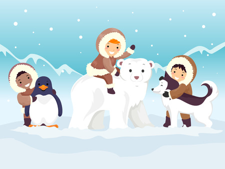 Colorful Illustration Featuring Stickman Kids in Thick Parkas Playing With Arctic Animals Stock Photo