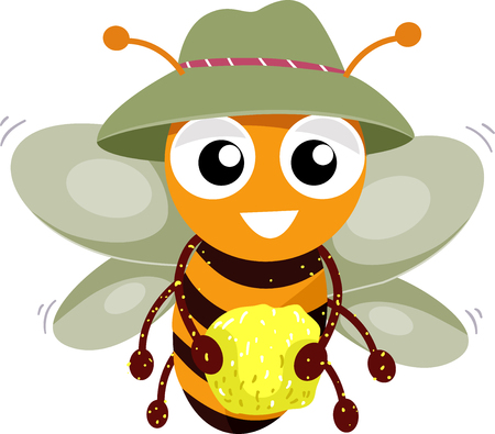 Illustration of a Bee Mascot Holding Pollen