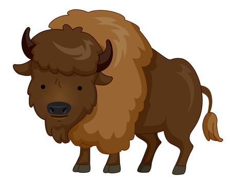 머리에 털이있는 모피 들소를 특징으로하는 귀여운 동물 그림