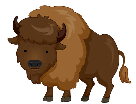 Cute Animal Illustration Featuring a Furry Bison with a Tuft of Hair on Its Head