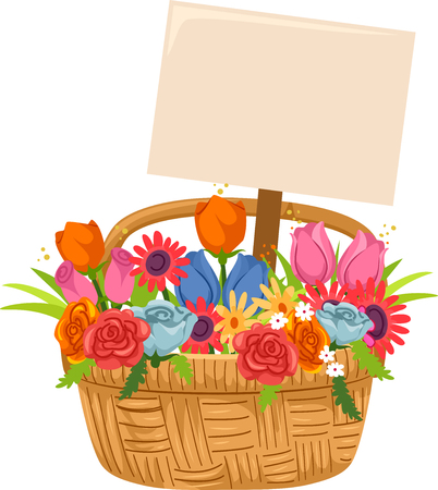 Illustration of a Basket Full of Flowers with a Blank Sign Board