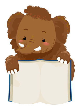 Cute Animal Illustration Featuring an Adorable Woolly Mammoth Holding the Pages of a Book Open Imagens
