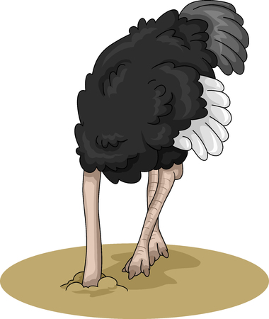Animal Illustration Featuring an Ostrich Burying its Head in the Moist Sand Stock Photo