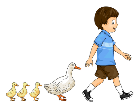 Colorful Illustration Featuring a Cute Little Boy Being Followed by a Family of Ducks