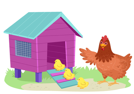 Illustration of a Mother Hen Guiding Her Chicks Inside the Chicken Coop
