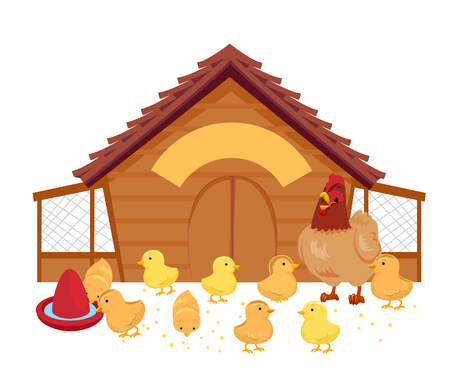 Illustration of a Hen and Her Chicks Inside a Chicken Coop with Feeds and Water
