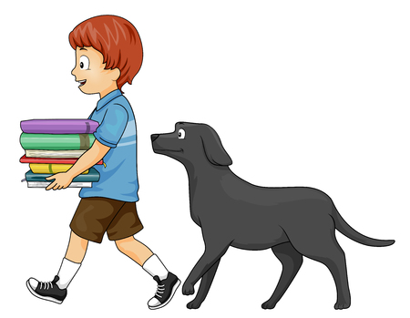 Colorful Illustration Featuring a Cute Little Boy Carrying a Pile of Books Being Followed by His Dog