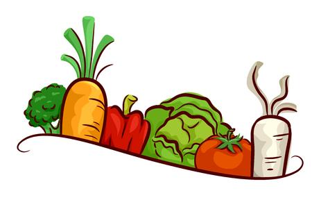 Ilustracja warzywa projektują sztandar