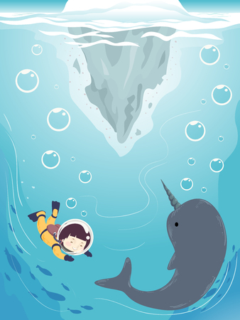 antarctica: Colorful Illustration Featuring a Cute Little Girl in a Diving Suit Swimming Towards a Narwhal