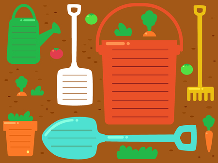 Background Illustration of Garden Tools from Watering Can, Shovel, Plant Pot, Rake and Pail with Spaces for Text
