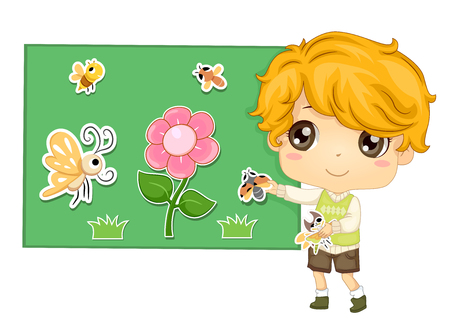 Colorful Illustration Featuring a Cute Little Boy Sticking Animal Cut Outs to a Flannel Board