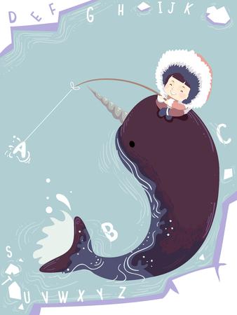 Illustration eines netten kleinen Mädchens in einem starken Parka-Eisfischen beim Sitzen auf der Rückseite eines Narwals Standard-Bild - 88489720