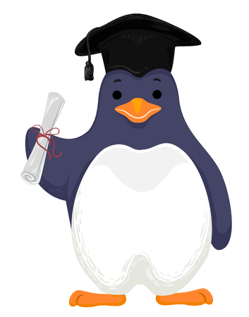 Cute Animal Illustration Featuring an Adorable Penguin Wearing a Graduation Cap and Holding a Rolled Up Diploma Stock Photo