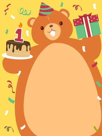 Colorful Birthday Illustration Featuring a Brown Bear Carrying a Birthday Cake and a Birthday Gift