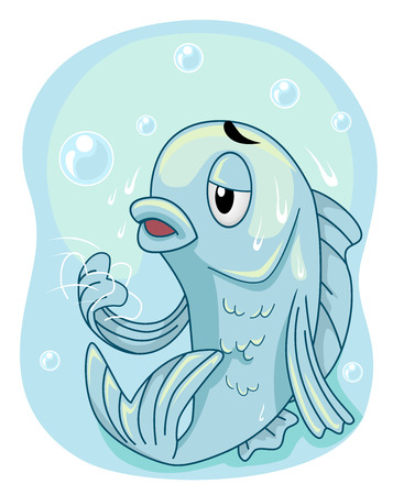 Mascot Illustration Featuring a Hapless Fish Frozen Solid in a Block of Ice