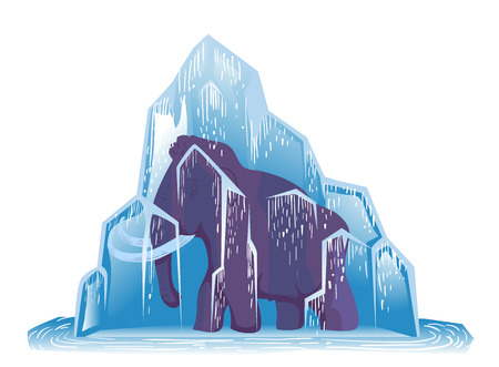 Ice Age Animal Illustration Met een Large Woolly Mammoth Frozen Solid