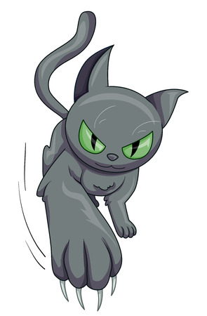 Illustratie met een grijze kat Swingende zijn lange scherpe klauwen speels