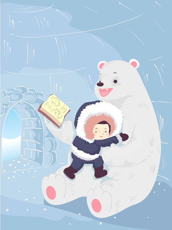 Colorful Illustration Featuring a Cute Little Boy Wearing a Thick Parka Hugging a Polar Bear Tightly as He Reads Him a Story in Their Igloo