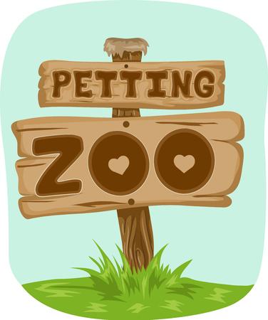 Illustratie met een houten bord met de Phrase Petting Zoo erop geschreven