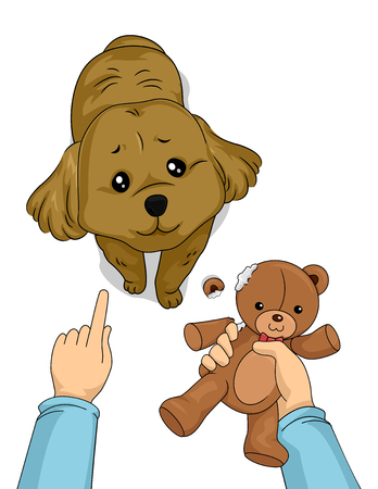 Cute Animal Illustration Featuring an Adorable Dog Pulling the Puppy Dog Eyes While Being Scolded for Ruining a Toy