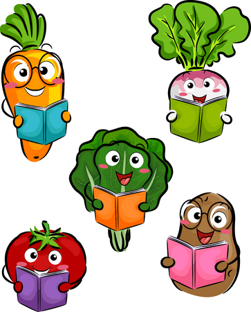 Illustration of Vegetable Mascots from Carrot, Radish, Lettuce, Tomato and Potato Reading Books