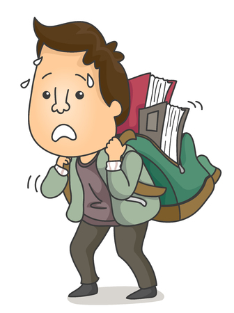 Illustration Featuring an Adult Learner Carrying a Heavy Backpack Full of Books