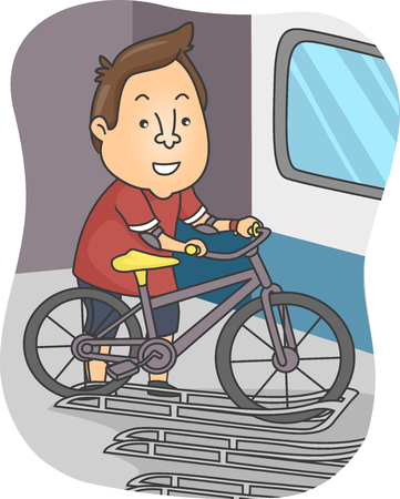 Illustration Featuring a Man Securing His Bicycle on One of the Bicycle Racks in a Train