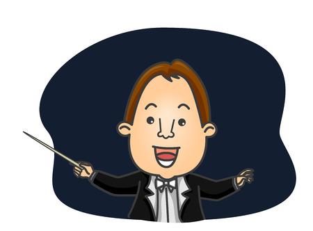 Illustratie met een mannelijke orkest dirigent aanwijzingen geven met behulp van zijn knuppel