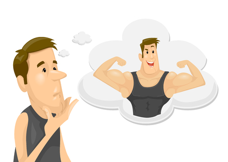 Illustration Featuring a Skinny Young Man Dreaming of Becoming Muscular Stok Fotoğraf