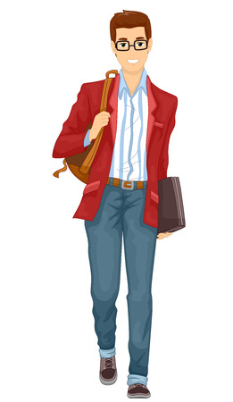 Illustration Featuring a Young Man in Glasses and Preppy Clothes Walking on His Way to School Stock Illustration - 89445016