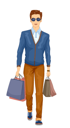 Illustration Featuring a Stylish Young Man in Preppy Clothes Carrying Shopping Bags