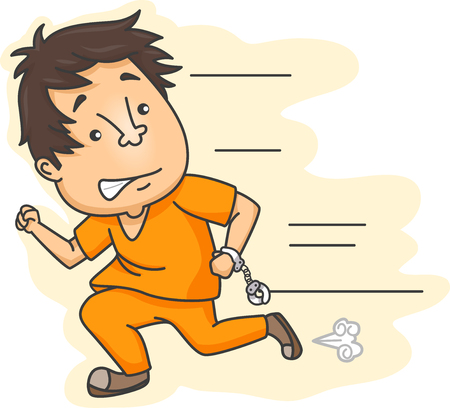 handcuffed: Illustration Featuring an Escaped Male Prisoner in Prison Clothes Running While Still Partially Handcuffed