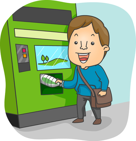 Illustration Featuring a Smiling Young Man Inserting a Plastic Bottle in a Recycling Machine Stock Photo