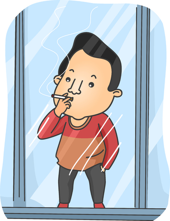 cigar smoking man: Illustration Featuring a Young Man in a Smoking Cubicle Puffing a Cigarette in Front of a Glass Window