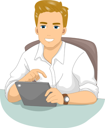 Illustration Featuring a Man Using a Computer Tablet to Browse the Internet