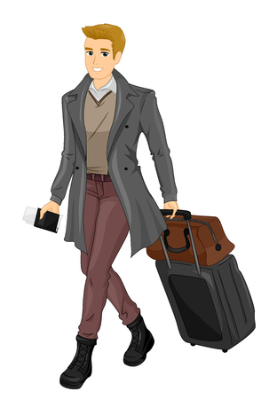 sharply: Illustration Featuring a Sharply Dressed Young Man Holding a Passport Dragging His Luggage Along