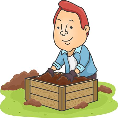 ea46feb3bec9 #89444642 - Ilustración de un agricultor mezclando materiales orgánicos en  su bandeja de compost casero