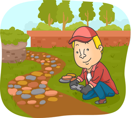 Illustration of a Walkway Paver Laying Stones of Different Shapes and Sizes Across a Muddy Path