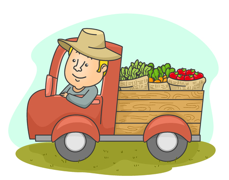 Illustration of a Middle Aged Farmer Driving a Truck Filled With Fresh Produce