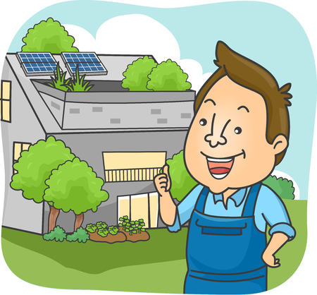 Illustration of a Man in Overalls Showing a House Using Solar Panels and Green Plants as an Alternative Source of Energy and Filtration System