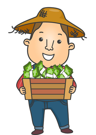 Illustration of a Farmer in a Straw Hat Carrying a Wooden Crate Filled With Cash