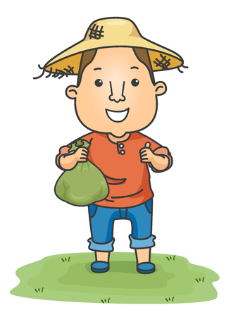 Illustration Featuring a Farmer in a Straw Hat Carrying a Bag Full of Money Stock Photo