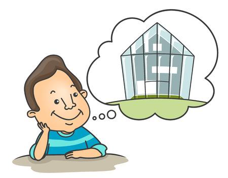 Illustratie van een lachende man dagdromen over een groen huis Stockfoto